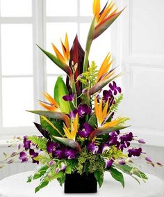 Birds in Paradise.exotic arrangement of Birds of Paradise with vibrant purple dendrobium orchids and lush greenery. Beneva Flowers - Sarasota,FL Love this dynamic color combination. Tropical Flowers, Tropical Flower Arrangements, Church Flower Arrangements, Beautiful Flower Arrangements, Silk Flower Arrangements, Exotic Flowers, Large Flowers, Flower Centerpieces, Spring Flowers