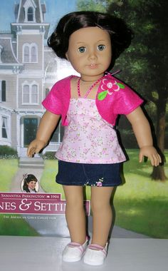 Pink Roses Mini Skirt Set for American Girl by cupcakecutiepie, $35.00