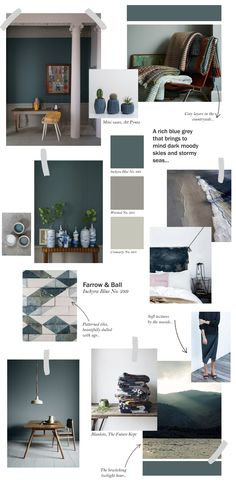 Farrow & Ball collage - Inchyra Blue Top ideas on how to use this stunning colour. Farrow And Ball Inchyra Blue, Up House, Blue Bedroom, Farrow Ball, Kitchen Paint, Design Kitchen, Kitchen Ideas, Colorful Interiors, Sweet Home