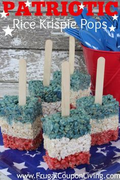 Red White and Blue Krispie Pops! A fun, patriotic, 4th of July treat!