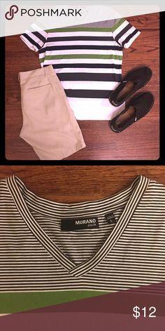 Men's Murano Slim Fit V-neck Tee Black, white, and green striped v-neck slim fit tee size L Murano Shirts Tees - Short Sleeve
