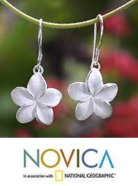 Sterling silver flower earrings, 'Frangipani' at The Animal Rescue Site