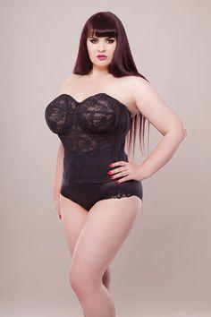 216b37e1e3 Elila - lace strapless longline bra Curvy Girl Lingerie