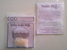 My washer whiff samples! 3/4 tbsp of Sunkissed citrus whiffs in a cute package designed by yours truly!! www.vipsmom.scentsy.ca