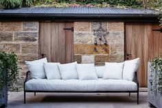 Designed by Sam Whiteman, The Rex Outdoor Sofa is a comfortable and considered contrast between steel and wrapped upholstery, defining luxurious living. Outdoor Sofa, Outdoor Living, Outdoor Furniture, Outdoor Decor, Mcm House, House Journal, Scatter Cushions, Luxury Living, Furniture Design