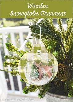 Make these adorable wooden snow globe ornaments that are easily customizable to any theme, interest, or color scheme. Globe Ornament, Ornament Crafts, Christmas Tree Ornaments, Christmas Crafts, Country Christmas Decorations, Xmas Decorations, Christmas Craft Projects, Holiday Crafts, Diy Ideas