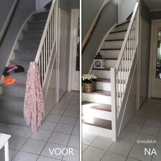 paint your stairs with two colors for less than 100 euro's. Stair make-over. Vervang je beklede trap voor een twee kleuren trap voor minder dan 100 euro.