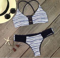 Audrina Criss Cross Nautical Strappy Blue White by MilaniaBikinis