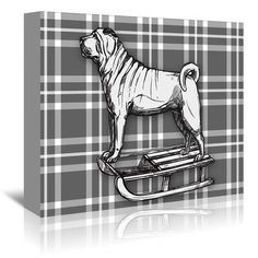 East Urban Home 'Pug on Sled with BW' by Kristin Van Handel Graphic Art on Wrapped Canvas Size: