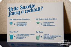 cocktail recipes ~ Doctor Who geek wedding (3). Pinning for the Hello Sweetie tagline