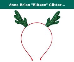 """Anna Belen """"Blitzen"""" Glitter Antlers Christmas Headband O/S Green on Red. Anna Belen """"Blitzen"""" is a fun antlers headband for the holiday season. Puffy glitter antlers on a satin ribbon-wrapped thin headband. This headband sells out at our boutique every year. Also comes in other styles called """"Rudolph"""" and """"Reindeer."""" Our hair accessories are handmade in NYC's Upper East Side and each item is of the highest quality."""
