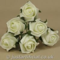 Artificial Colourfast Rose Bud Bunch - Ivory