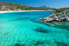 Kalamitsi, Sithonia, Halkidiki, Macedonia, Greece, May 2013. Kalamitsi is a small beach paradise that boasts interesting graphic coastal fo...