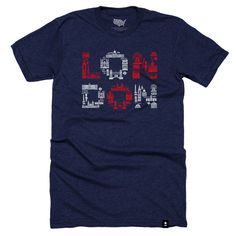 "Size Chart The Stately Type London Landmarks t-shirt features a variety of hand-drawn, hand-lettered London landmarks and symbols in white and red forming the word ""London"" on a navy cotton/poly crewn"