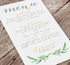 Printable Wedding Menu Card Calligraphy by HeSawSparks on Etsy