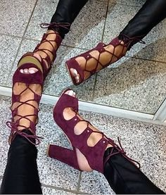 fd44db07836 Luxury Brand Wine Red Suede Chunky Heel Sandals Lace-up Open Toe Exposed Heels  Gladiator Dress Shoes Thick High Heel Pumps