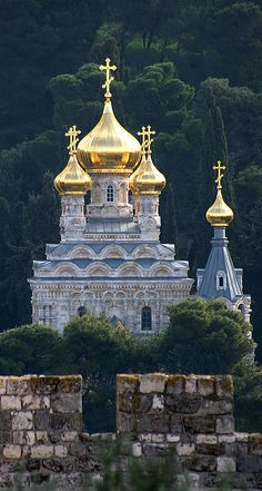 Russian Orthodox Church of St. Mary Magdalene seen from the walls of Jerusalem