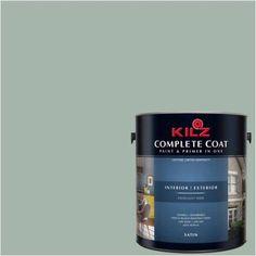 Kilz Complete Coat Interior/Exterior Paint & Primer in One #RG260-01 Sage Pond, 1 gal, Flat, Green