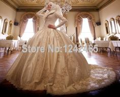 Find More Wedding Dresses Information about Ball Gown Hijab Muslim Long Sleeve Bridal Dress High Neck Appliqued Beaded Arabic Wedding Dress Satin Luxury Handmade MC125,High Quality dress garment,China dress stand Suppliers, Cheap dresses 80s from TBNA Bridal on Aliexpress.com
