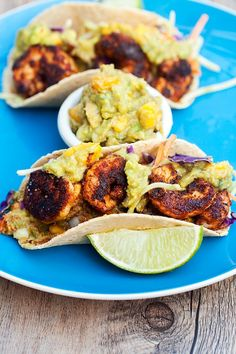 Bold and spicy shrimp pair perfectly with fruity and creamy mango guacamole… Shrimp Dishes, Fish Dishes, Mexican Dishes, Seafood Recipes, Mexican Food Recipes, Cooking Recipes, Healthy Recipes, Healthy Meals, Yummy Recipes