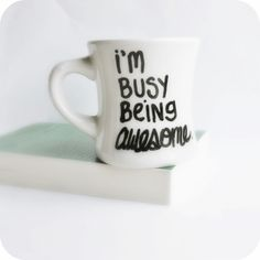 Coworker gift?  Awesome Funny Mug coffee tea cup diner mug black by KnotworkShop, $12.00