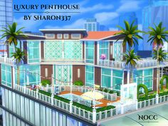 Luxury Penthouse is a home built on a 40 x 30 lot in San Myshuno on the Torendi Tower Lot. Found in TSR Category 'Sims 4 Residential Lots' Sims 4 Penthouse, Luxury Penthouse, Sims 4 House Plans, Sims 4 House Building, San Myshuno, Casas The Sims 4, Sims House Design, Apartment Floor Plans, Sims 4 Cc Furniture