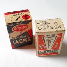 Vintage Tacks Upholstery Nails Cross Snell by lisabretrostyle