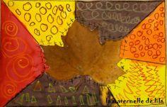 Feuille d'automne : encres et pastels gras