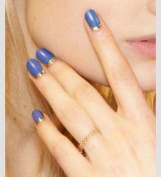 Blue gold moon mani