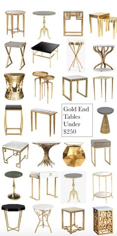 Gold End Tables Under $250