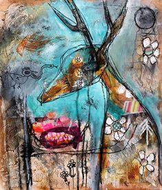 Abstract Deer Painting Art Print. surreal animal art modern