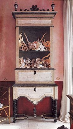 display cabinet with shell collection.