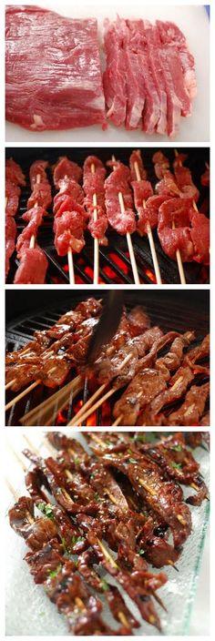 Beef Teriyaki :: 1 flank steak 16 bbq skewers 2 tsp sesame oi salt  pepper Teriyaki Glaze 1 cup soy sauce 1/2 cup brown sugar 2 Tbsp honey 1 Tbsp mirin 1 Tbsp garlic, minced 1 tsp ginger, minced 1 Tbsp cornstarch 1/4 cup cold water Grilling Recipes, Meat Recipes, Asian Recipes, Cooking Recipes, Healthy Recipes, Tailgating Recipes, Smoker Recipes, Chicken Recipes, Sukkot Recipes