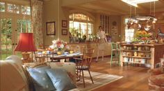 """Bette Midler's kitchen in """"Stepford Wives"""" is my dream kitchen. Dream Home Design, My Dream Home, House Design, Kitchen In, Country Kitchen, Island Kitchen, Movie Set Decor, Cottage Style Homes, Unusual Homes"""