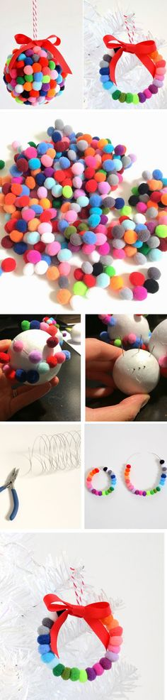 Pom Pom Balls | 30+ DIY Christmas Crafts for Kids to Make