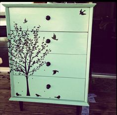 Refurbish old furniture @ DIY Home Cuteness?I love the design on the front.so pretty great ideal ! looks awesome ,going to try this after I get a cheap dresser from used furniture store ! Old Furniture, Refurbished Furniture, Repurposed Furniture, Furniture Projects, Furniture Makeover, Home Projects, Painted Furniture, Modern Furniture, Dresser Repurposed