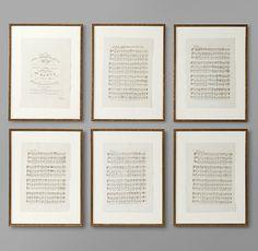 18th C. English Sheet Music Art - Set of 6   Art   Restoration Hardware Baby & Child