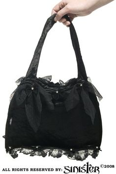 Black Velvet Gothic Bag with Crystals By Sinister