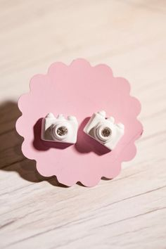 Tiny White Camera stud Earrings - great gift to your wedding photographer