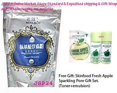 Mingkou Pearl Powder 100% (New Version). Facial Mask + Scrub + Reduce Oily + Make up 3 in 1 (252g.)whitening + Reduces Scars + Acne Pits + Dark Sports + Freckles.(free Gift:skinfood Green Apple Gift Set. (Toner+emulsion)) by Mingkou.. $23.72. - Stop the activity melanin./- Clear, smooth skin is obvious.. 252g. per pack.. - To reduce the acne cure it./- Gentle to the skin./- Suitable for all skin types. Even sensitive skin.. - Tighten the pores./- The skin is observed.. (...