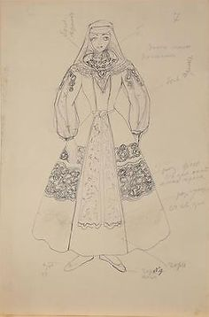 An unknown artist Sketch of female folk costume, Art Painting Russian 19 century