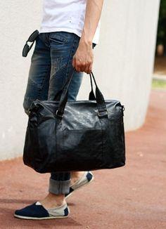 Mannen toevallige mensen duffle bag -zwart van the-land-of-morning-calm op DaWanda.com