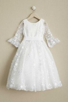 Round Neck Off White Lace Half Sleeve With Sash Long Flower Girl Dresses, Baby Blessing Dress, Baby Dress, Girls White Dress, Little Girl Dresses, White Flower Girl Dresses, Holy Communion Dresses, Butterfly Dress, Embellished Dress, Long Flowers