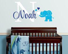 Elephant Custom Name Personalized Initial Wall Decal Sticker for Nursery, Boy's Room or Playroom, Nursery Monogram