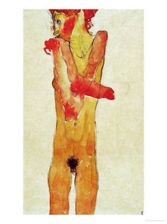 Egon Schiele Nude Girl with Folded Arms 1910