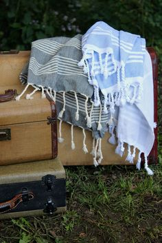 Indigo with white strips gives a crisp and clean look. Our woven pestemals, a traditional Turkish towel, are made of cotton and lightweight. Periwinkle Blue, Indigo Blue, Caravan Holiday, White Strips, Bath Linens, Turkish Towels, Beach Houses, Thanksgiving Ideas, Outdoor Rooms