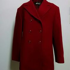 Mario DePinto coat Red in color, lined, gently used, excellent condition.  Non smoking home. 75% wool, 20% nylon, 5 % other fibers. Tag missing for size..estimate 16/18. Mario Di  Pinto Jackets & Coats