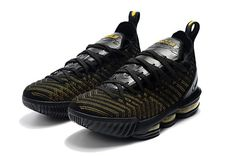 198aed23503 Nike LeBron 16 Black Metallic Gold Mens Basketball Shoes-5 Lebron 16