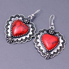 Southwestern Style Antique Silvertone Red Coral Heart Dangle Earrings #DropDangle