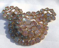 RARE Kramer Gorgeous SAPHIRET Stones Rhinestones Brooch Pin Earrings Demi SET